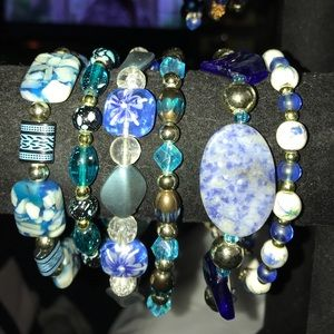 Jewelry - Handmade Lampwork Beaded Bracelets Shades of Blue
